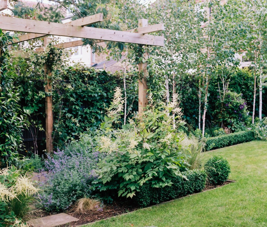 Family garden with willow screened trampoline