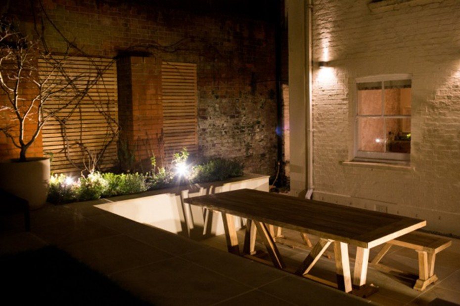 Contemporary garden in North London showing a range of garden lighting